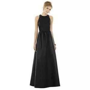 Alfred Sung Style D707 Black Satin Maxi Dress